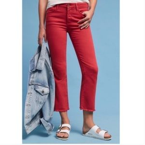 Anthro Pilcro Script High Rise Cropped Flare Jeans